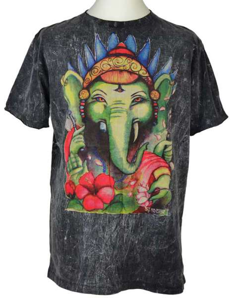 No Time T-Shirt Ganesh, stonewashed grau