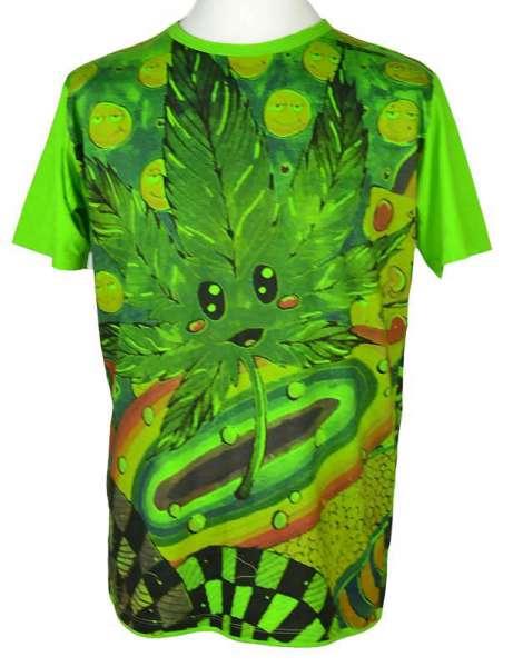Mirror T-Shirt Hanfblatt grün