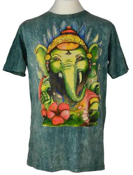 No Time T-Shirt Ganesh, stonewashed grün