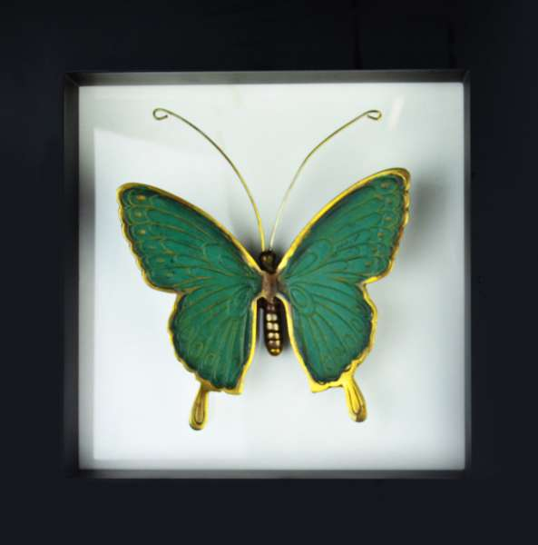 Wandbild Schmetterling Messing