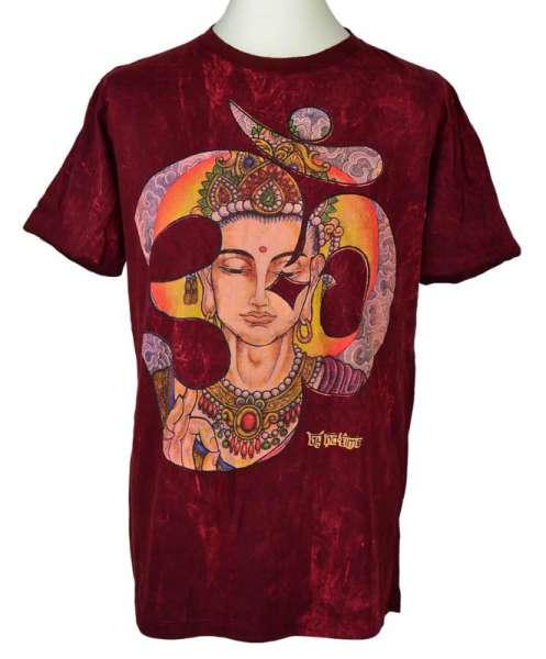 No Time T-Shirt Buddha OM, stonewashed bordeaux