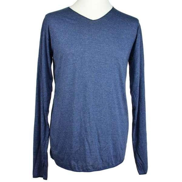 Basic Langarmshirt mit V-Ausschnitt tintenblau