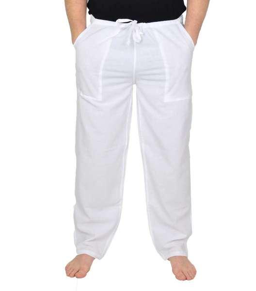 Yogahose /Freizeithose aus Baumwolle für Herren in weiss