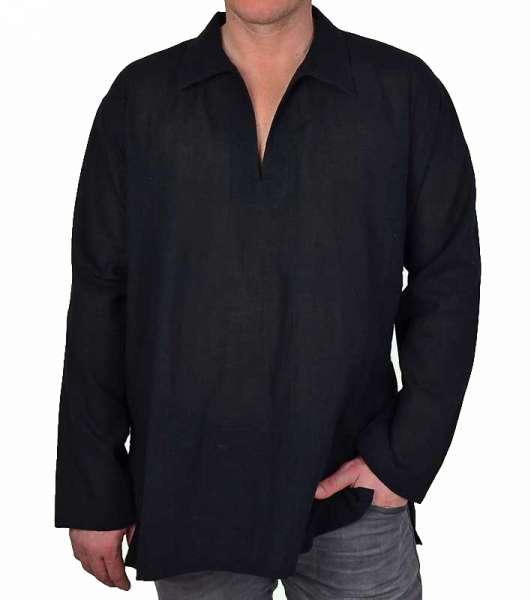 Tunika für Herren und Damen Fisherman-Hemd schwarz, langarm, Spitzkragen