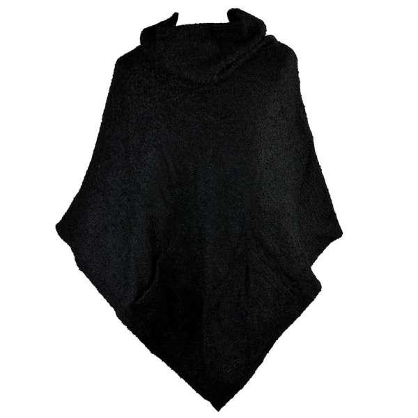 Poncho mit Trichterkragen schwarz