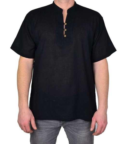 Stehkragenhemd Asia Kurzarm für Männer, schwarz