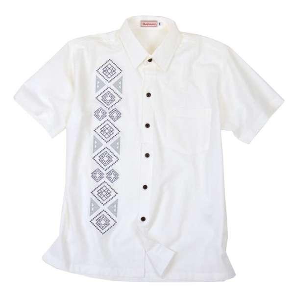Leichtes Kurzarmhemd mit markanter Stickerei für Männer, weiss