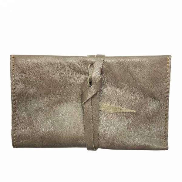 Tabaktasche Vintage Drehertasche aus Leder grau