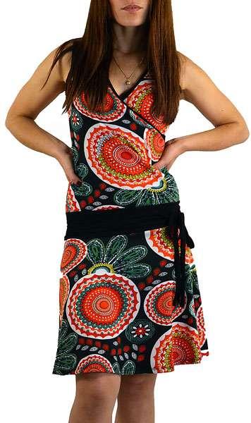 Sommerkleid Kreise schwarz orange