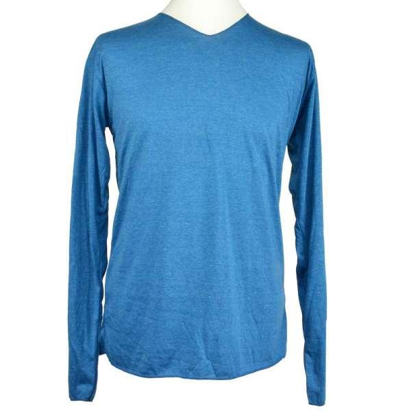 Basic Langarmshirt mit V-Ausschnitt blau