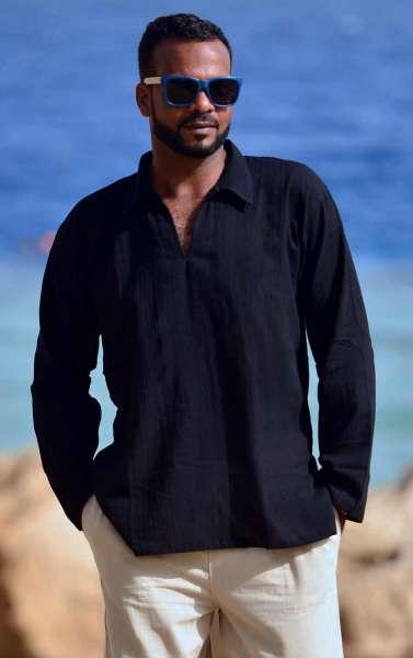 MABRASCO Tunika für Herren und Damen Fisherman-Hemd schwarz