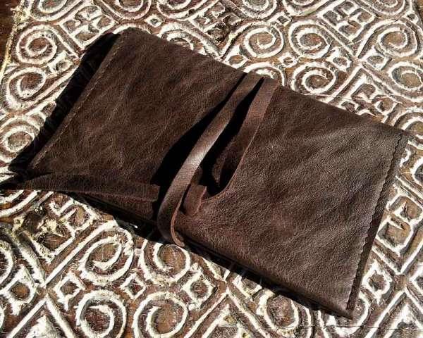 Tabaktasche Vintage Drehertasche aus Leder braun