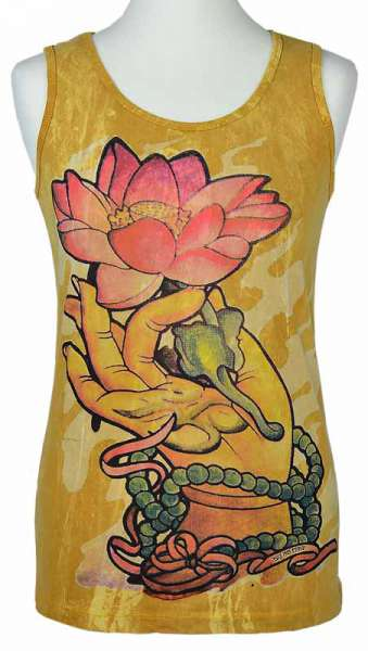 No Time Tanktop Lotusblume, senfgelb