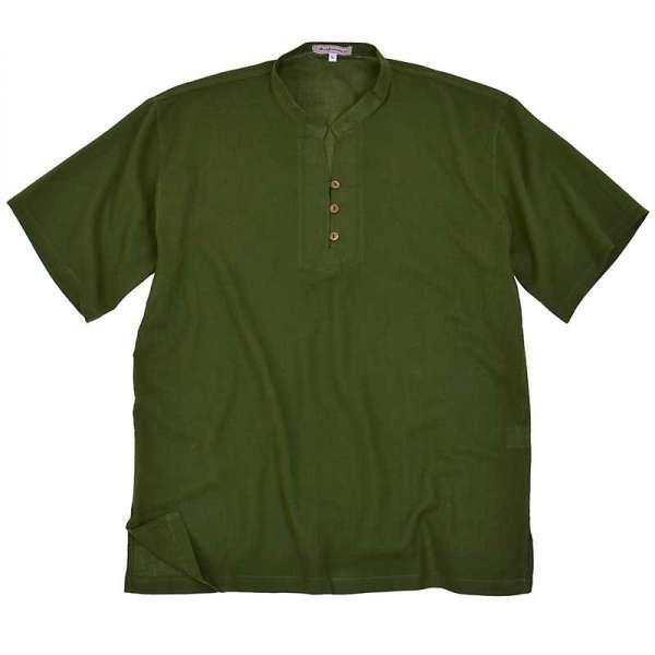 Hemd mit Stehkragen Asia Kurzarm, grün