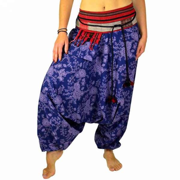 Haremshose Aladinhose lila aus starker Baumwolle mit gewebten Bund