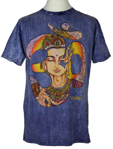 No Time T-Shirt Buddha OM, stonewashed blau