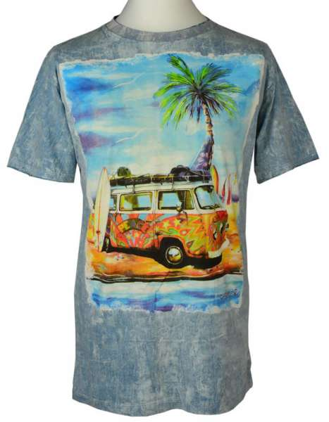 No Time T-Shirt Hippie-Bus, stonewashed hellblau
