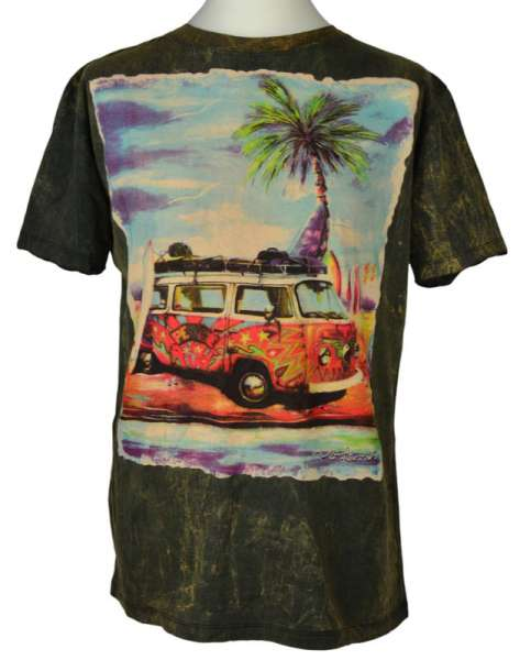 No Time T-Shirt Hippie-Bus, stonewashed schwarz