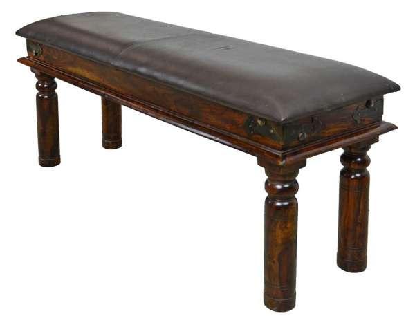indische Sitzbank mit Ledersitzfläche 110 cm