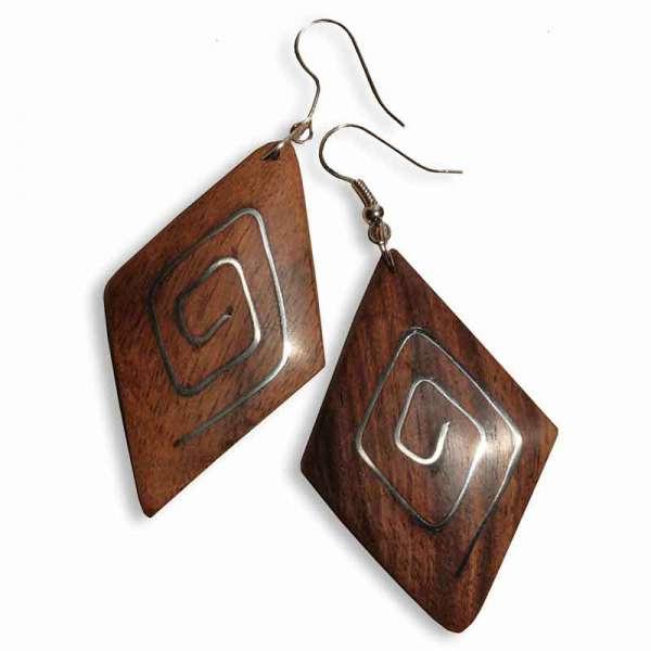 Ohrringe Holz Raute
