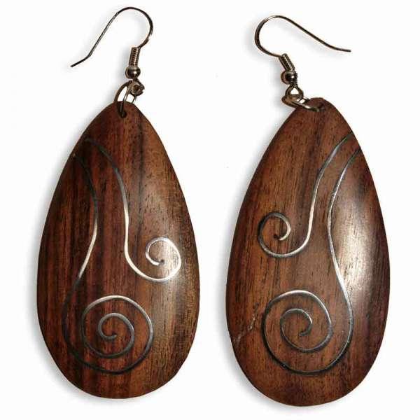 Ohrringe Holz Tropfen