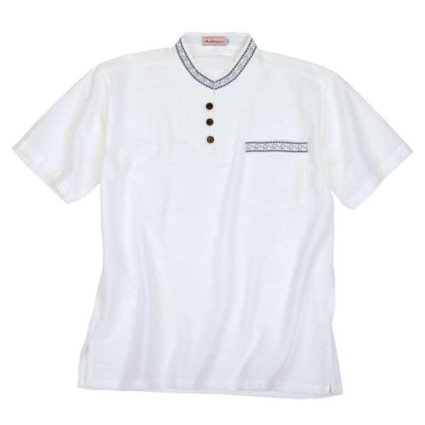 Mabrasco Sommerhemd mit Mandarin Kragen und Stickerei, weiß