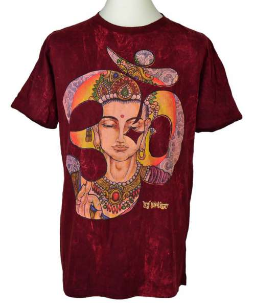No Time T-Shirt Buddha OM, stonewashed bordeaux
