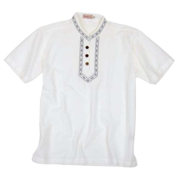 MABRASCO Kurzarm Hemd mit Stehkragen und Stickerei, weiß