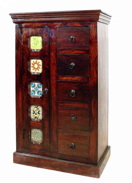 Highboard mit Keramikfliesen