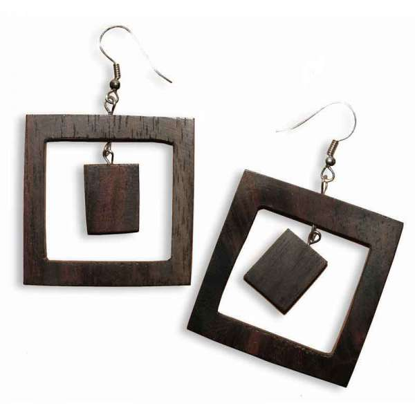 Ohrringe Holz Quadrat