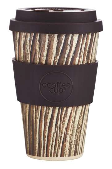 eCoffee Cup 400 ml Bambus Coffee-2-Go Becher Baumrinde braun