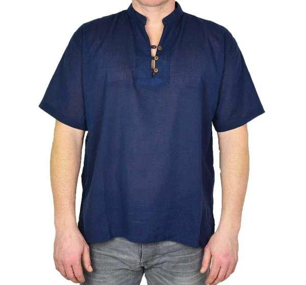 Hemd Tunika kurzarm blau