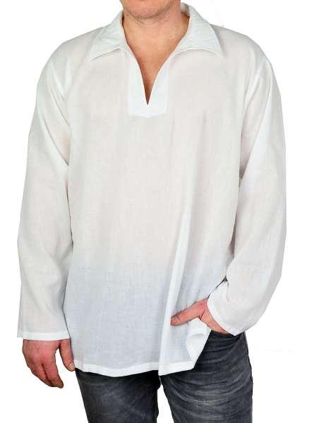 Tunika für Herren weiß mit Spitzkragen aus Baumwolle