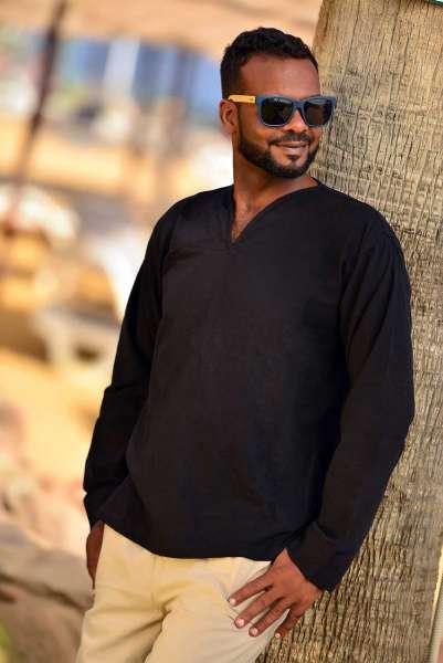 Hemd Tunika schwarz, langarm mit V-Ausschnitt