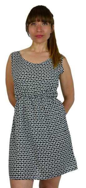 Minikleid schwarz weiß alloverdruck