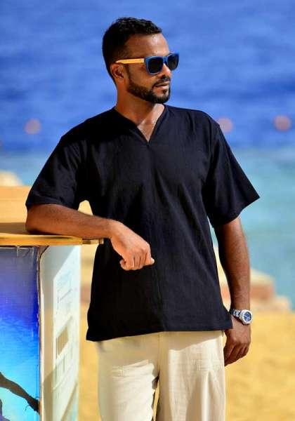 Mabrasco Hemd Tunika, schwarz, kurzarm mit V-Ausschnitt