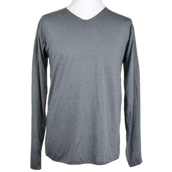 Basic Langarmshirt mit V-Ausschnitt grau