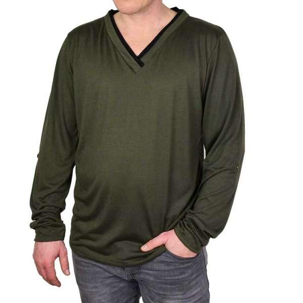 Basic Langarmshirt mit V-Ausschnitt grün
